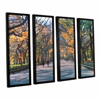 Red Barrel Studio Misty Autumn Day 4 Pieces Framed Painting Print Set Wayfair