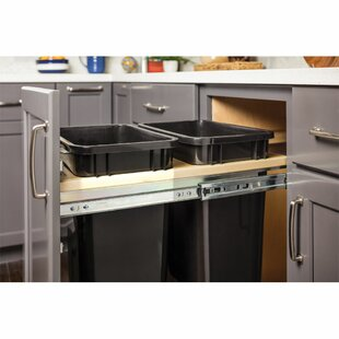Top Mount Soft-Close Double Solid Wood Open Pull Out/Under Counter Trash Can Unit