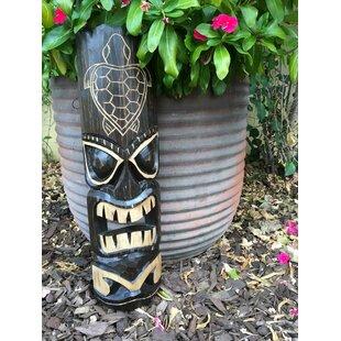 Tiki Mask Hawaiian Turtle Hand Carved Wood Wall Decor
