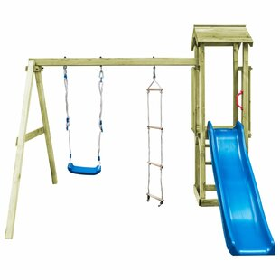 Playhouse With Ladder Slide Swing Set By Freeport Park