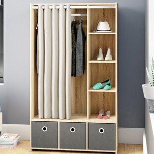 Ebern Designs Loke 3 Bin Curtain Storage Center Armoire