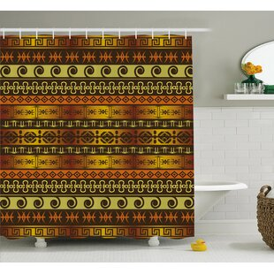 Moutanabi African Indigenous Motifs With Ethnic Ornaments Traditional Tribal Print Single Shower Curtain