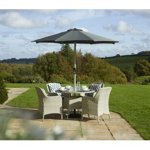 Darsha 4 Seater Dining Set With Cushions And Parasol By Sol 72 Outdoor