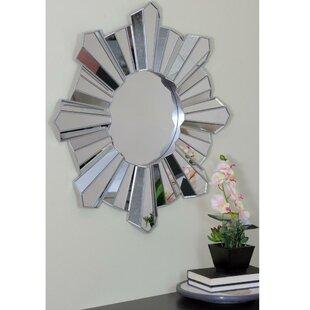 4ed18571a6b Arambula Sparkling Sunburst Wave Round Wall Mirror