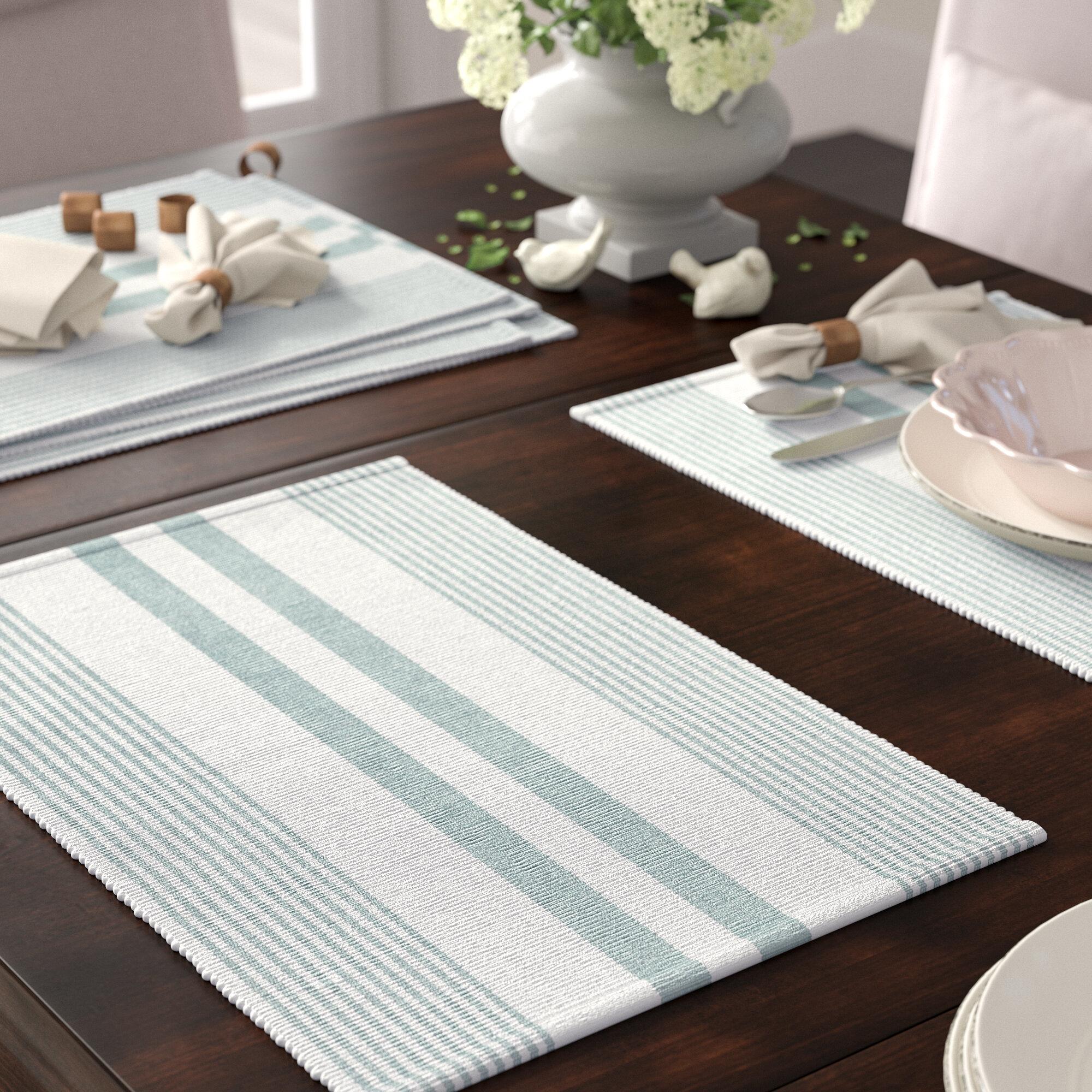 Stir Things Up Cream Stripe 11 x 11 Cotton Linen Fabric Dish Covers Set of 3