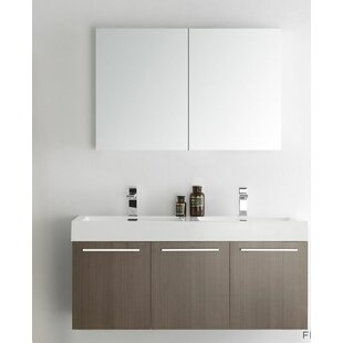 Senza 48 Vista Double Wall Mounted Modern Bathroom Vanity Set with Mirror by Fresca