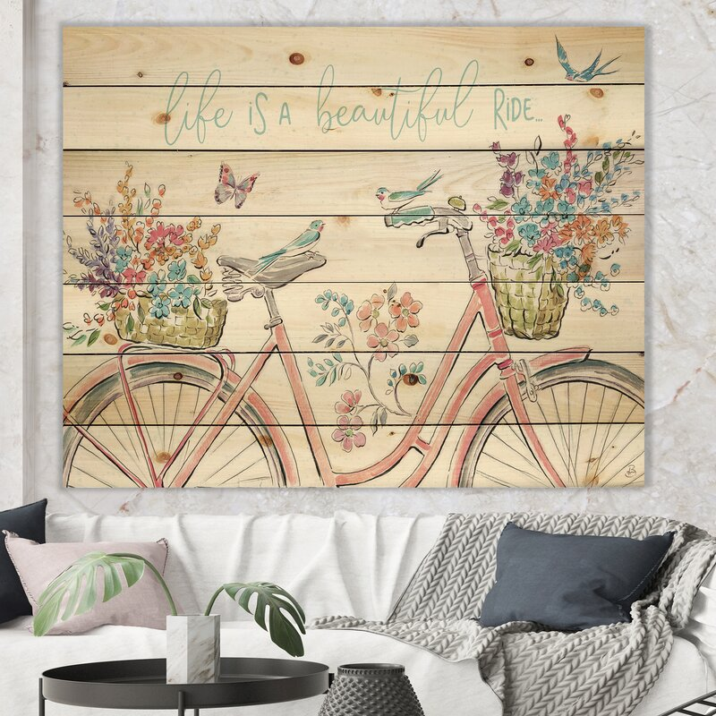 French Country Wall Decorations - French Country 'Spring Bike Bouquet' Print