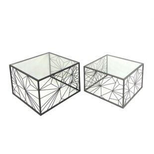 Mckinzie Artistic Metal Base 2 Piece Nesting Tables