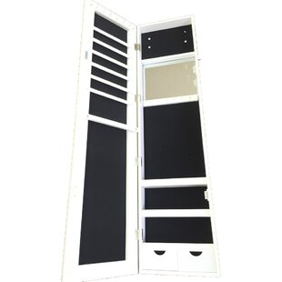 Famis Corp Frameless Over the Door Jewelry Armoire with Mirror