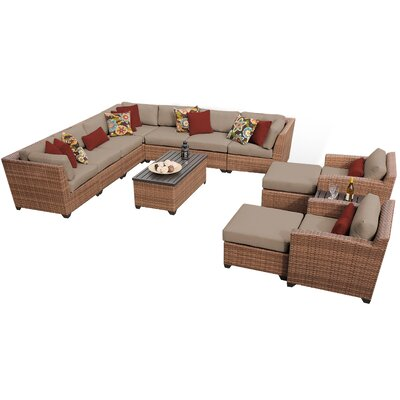 Sol 72 Outdoor Waterbury 13 Piece Sectional Seating Group with Cushions Cushion Color: Spa