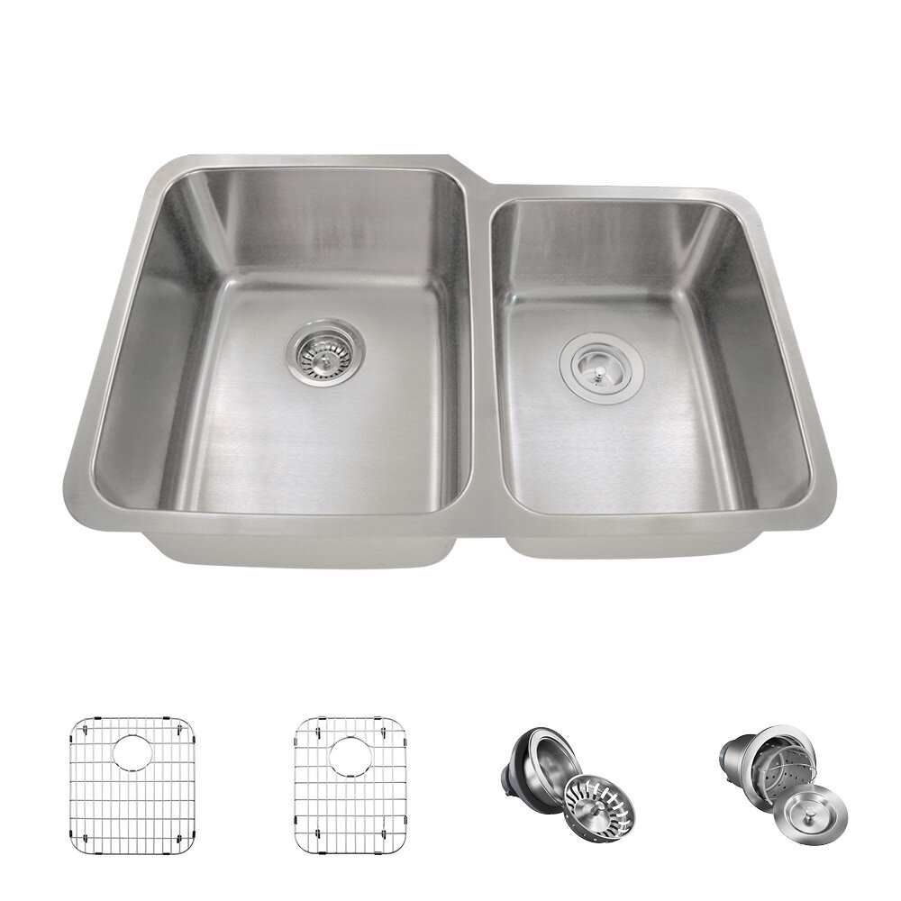 513l 16 Ens Stainless Steel 32 X 21 Double Basin Undermount Kitchen Sink With Additional Accessories