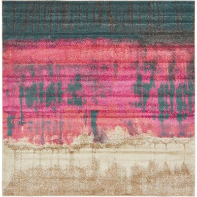 Wrought Studio Wynn Traditional Pink Area Rug Rug Size: Square 8'
