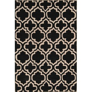 Rosa Oushak Indian Oriental Hand-Tufted Wool Black/White Area Rug By Rosdorf Park