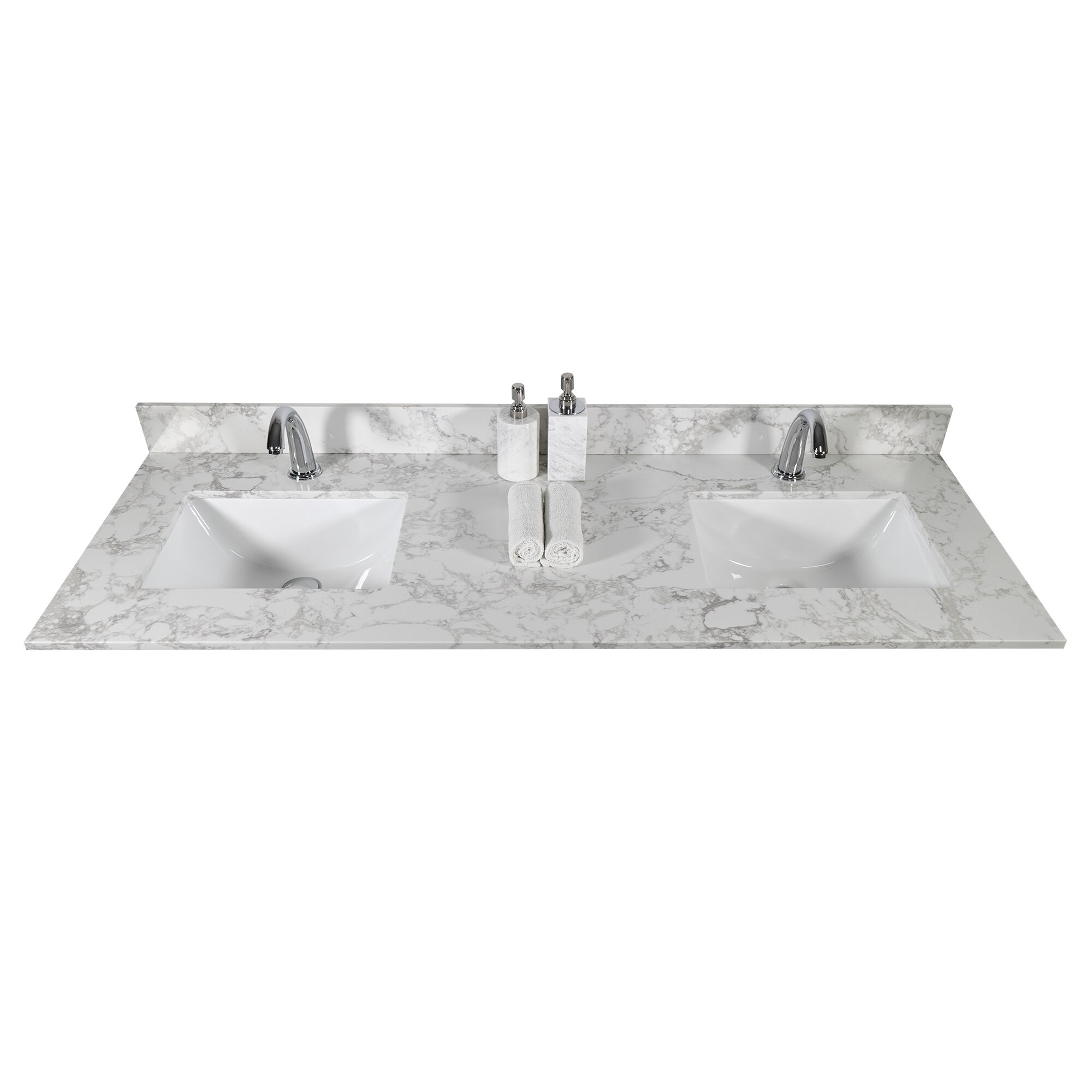 Anvava 61 Bathroom Vanity Top Engineered Stone With Double Rectangle Undermount Ceramic Sink Backsplash And Single Faucet Hole Carrara White Marble Color Wayfair