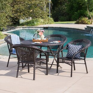 August Grove Borkowski Outdoor Wicker 5 Piece Dining Set