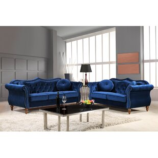 Carbon Classic Nailhead Chesterfield 2 Piece Living Room Set by House of Hampton