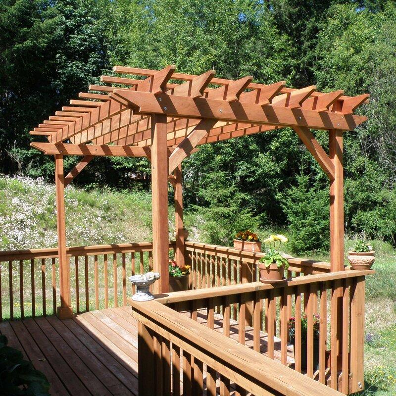 Best Redwood 10 Ft. W Solid Wood Pergola  Finish: Clear, Size: 10 H x 10 W x 10 D