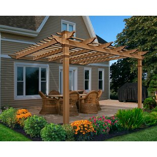 Kennedy 12 Ft. W x 12 Ft. D Manufactured Wood Pergola by New England Arbors