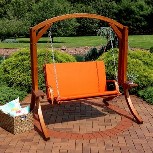 Baron 2 Person Wooden Porch Swing with Stand by Freeport Park