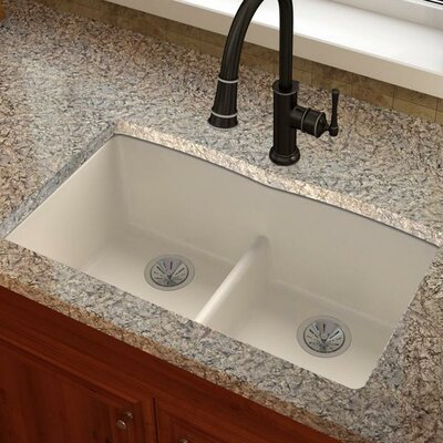 Quartz Luxe 33 X 19 Double Bowl Undermount Kitchen Sink