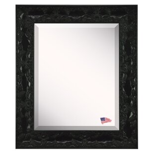 Fleur De Lis Living Handcrafted Glossy Black Wall Mirror