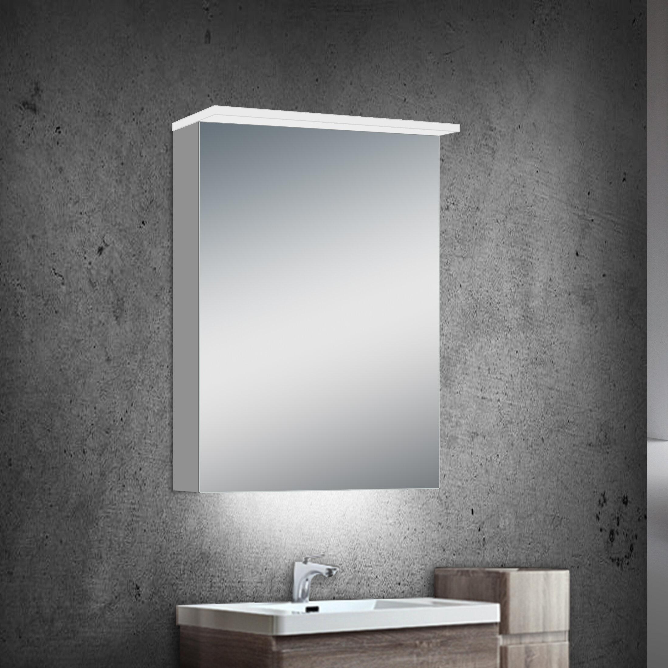 Orren Ellis Garet Modern Lighted Bathroom Mirror Wayfair