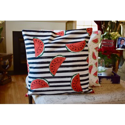 Kristopher Watermelon Print Indoor/Outdoor Throw Pillow (Set Of 2) by Ebern Designs Cheap