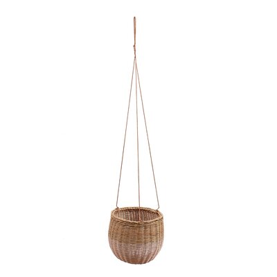 Galena Round Basket Rattan Hanging Planter with Faux Leather Strings Bungalow Rose Color: Blush/Natural