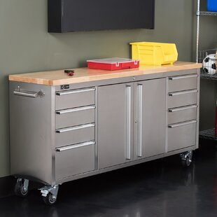 Stainless Steel Rolling Rubberwood 72 Wide 8 Drawer Bottom Rollaway Chest by Trinity