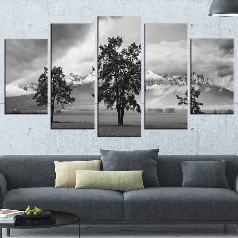 DesignArt \'Three Trees in Front of Mountains\' 5 Piece Wall Art on ...