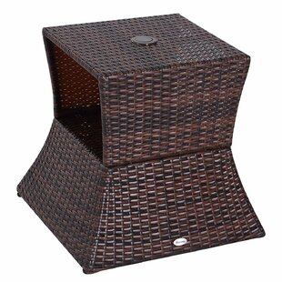 Banner Wicker Rattan Outdoor Patio Side Table With Umbrella Hole