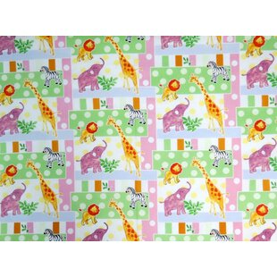 Inexpensive Jungle Animals and Dots Toddler Fitted Crib Sheet BySheetworld