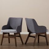 Collazo Upholstered Arm Chair in Dark Walnut (Set of 2) by George Oliver