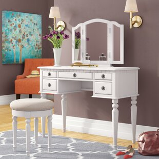 Darby Home Co Meri Tri-Folding Vanity Set with Mirror