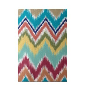 Ikat-arina Stripe Print Caribbean Indoor/Outdoor Area Rug