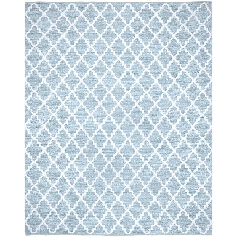 Alcott Hill Valley Hand-Woven Cotton Blue/ Ivory Area Rug, Size: Rectangle 9 x 12