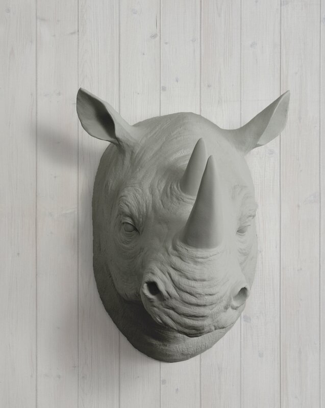 Serengeti Faux Taxidermy Rhinoceros Head Wall Décor