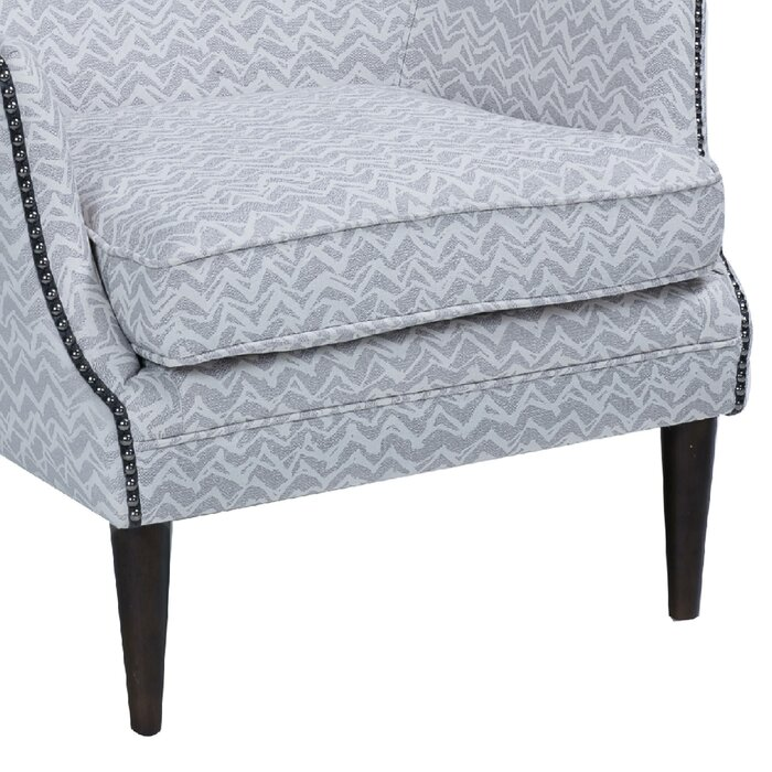 Pleasant High Back Accent Chair With Patterned Fabric Upholstery Grey And Brown Ibusinesslaw Wood Chair Design Ideas Ibusinesslaworg