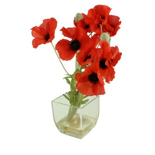 Artificial poppies wayfair artificial poppy floral arrangement in vase mightylinksfo
