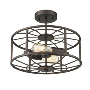 Dunnstown Industrial Ceiling 2-Light Semi-Flush Mount by Williston Forge