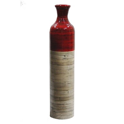 World Menagerie Jacque Floor Vase Color: Red Glossy/Natural Bamboo Matte, Size: 31.89 H x 7.09 W x 7.09 D