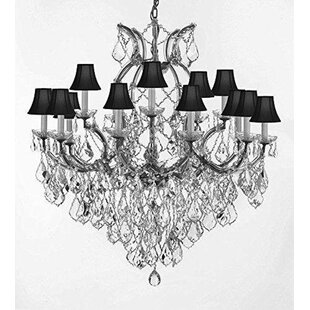 Astoria Grand Weidler 16-Light Fabric Shade Chain Shaded Chandelier