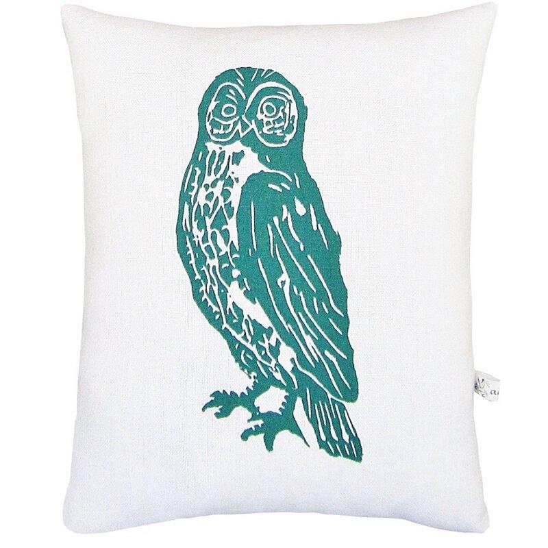 Artgoodies Owl Block Print Squillow Accent Cotton Throw Pillow Wayfair