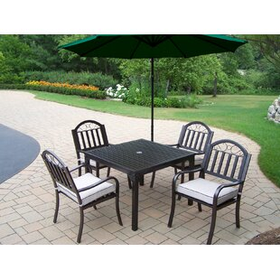 Red Barrel Studio Lisabeth 5 Piece Dining Set with Cushions and Umbrella