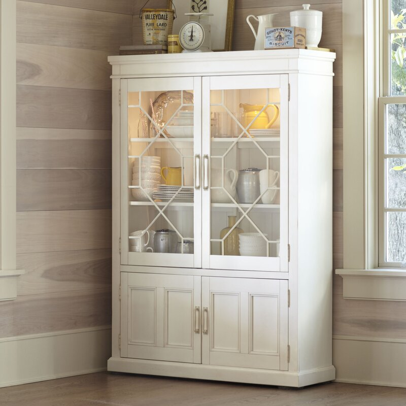 Exceptional Lisbon Solid Rubberwood Lighted China Cabinet. Antique White Cherry