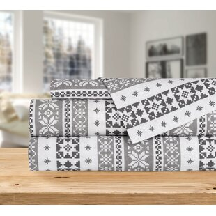 Ruger 4 Piece Nordic Adventure Argyle Snowflakes Striped Flannel Sheet Set