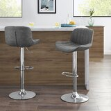 Hisham Adjustable Height Swivel Bar Stool (Set of 2) by Orren Ellis