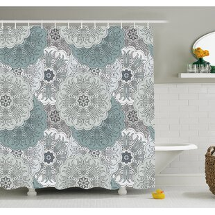 Arabesque Tile Mandala with Oriental Touch Eastern Style Indian Ethnic Spiritual Motif Shower Curtain Set