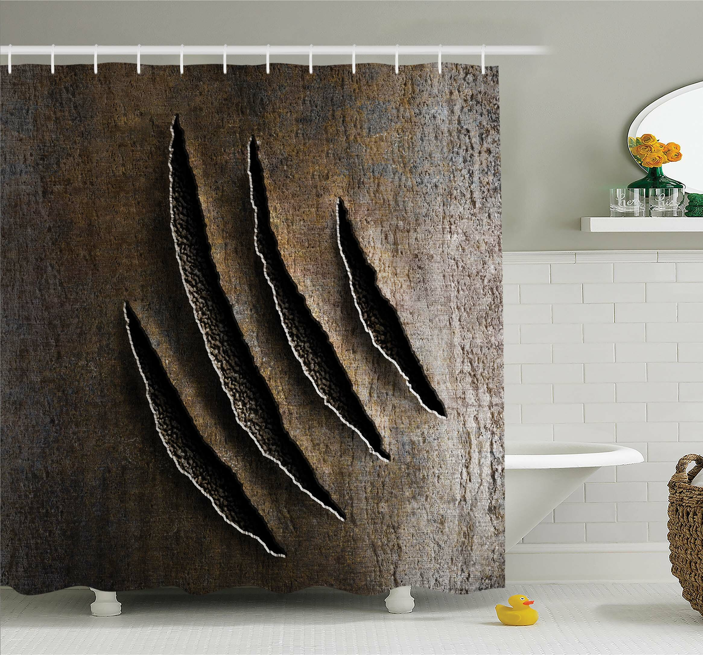Ambesonne Horror House Wild Claws Scratch Damage On Rusty Metal Iron  Background Sharp Beast Theme Shower Curtain Set | Wayfair
