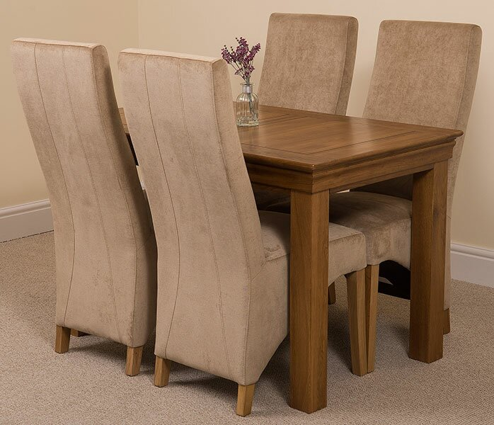 Carmela Solid Oak Dining Set with 4 Lola Chairs